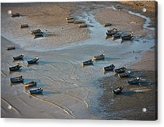 Fishing Boats On The Muddy Beach, East Acrylic Print
