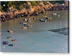 Fishing Boats On The Muddy Beach Acrylic Print