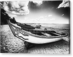 Fishing Boats On The Shore Acrylic Print by George Oze