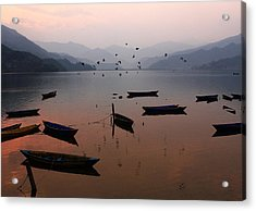 Fishing Boats - Phewa Lake - Nepal Acrylic Print by Aidan Moran