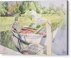Fishing Acrylic Print by Carl Larsson