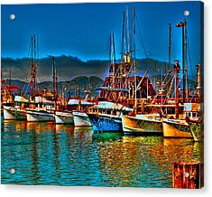 Fishing Fleet At Suns Setting Acrylic Print