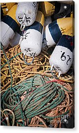 Fishing Floats And Rope Acrylic Print by Elena Elisseeva