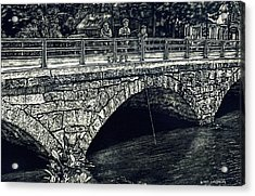 Fishing From The Stone Arched Bridge Acrylic Print by Robert Goudreau