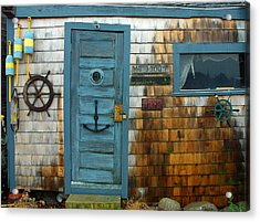 Fishing Hut At Rockport Maritime Acrylic Print by Jon Holiday