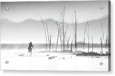 Fishing In A Misty Morning Acrylic Print
