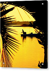 Fishing In Gold Acrylic Print by Karen Wiles
