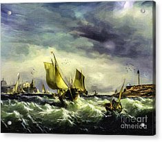 Acrylic Print featuring the digital art Fishing In High Water by Lianne Schneider