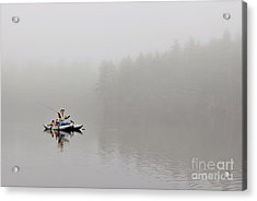 Fishing In The Fog Acrylic Print by Karin Pinkham