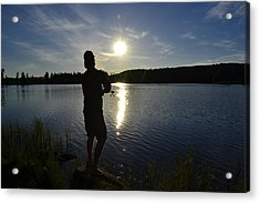 Fishing In The Sunset Acrylic Print by Per Kristiansen