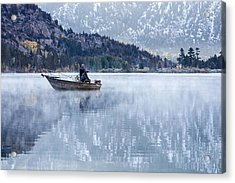 Fishing Into Silver Acrylic Print