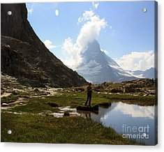 Fishing Lake Matterhorn Acrylic Print by Juan Romagosa