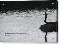 Fishing Late W/scripture Acrylic Print