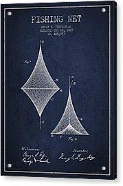 Fishing Net Patent From 1889- Navy Blue Acrylic Print