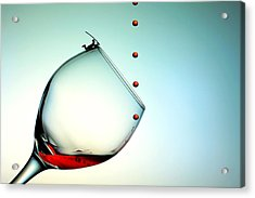 Fishing On A Glass Cup With Red Wine Droplets Little People On Food Acrylic Print