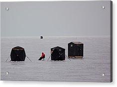 Fishing On Icy Lake Acrylic Print