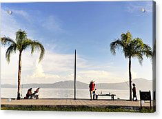 Acrylic Print featuring the photograph Fishing On Lake Chapala by David Perry Lawrence