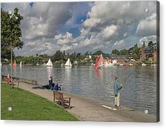 Fishing On Oulton Broad Acrylic Print by Ralph Muir