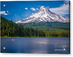 Fishing On Trillium Lake Acrylic Print by Inge Johnsson