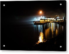Fishing Pier At Night Acrylic Print by Brian Xavier
