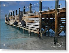 Fishing Pier Acrylic Print by Judy Wolinsky