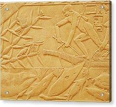 Fishing Scene, From The Mastaba Of Kagemni, Old Kingdom Limestone Acrylic Print by Egyptian 6th Dynasty