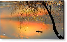Fishing Sunset Acrylic Print by Igor Zenin