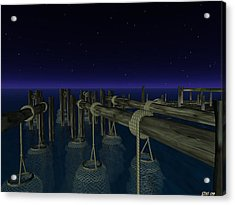 Acrylic Print featuring the digital art Fishing by Susanne Baumann