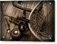 Fishing - Vintage Fishing  Black And White Acrylic Print