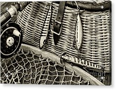 Fishing - Vintage Fishing Lures In Black And White Acrylic Print