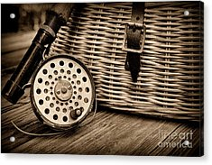 Fishing - Vintage Fly Fishing - Black And White Acrylic Print