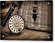 Fishing - Vintage Fly Fishing - Black And White Acrylic Print