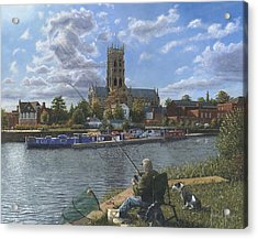 Fishing With Oscar - Doncaster Minster Acrylic Print