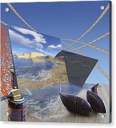 Fishing With Paint Acrylic Print by Jennifer Kathleen Phillips