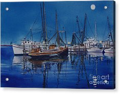 Acrylic Print featuring the painting Fishmoon by Karol Wyckoff