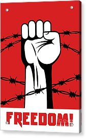 Fist Up Power. Hand Breaks Barbed Wire Acrylic Print