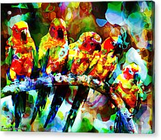 Five Artist Parrots. 2013 80/60 Cm.  Acrylic Print by Tautvydas Davainis