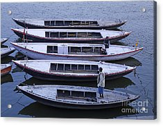 Five Boats On The Ganges Acrylic Print by Robert Preston