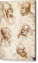 Five Caricature Heads Acrylic Print by Leonardo da Vinci