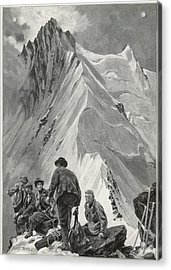 Five Climbers Contemplate The  Daunting Acrylic Print by Mary Evans Picture Library