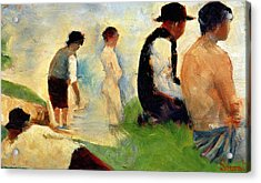 Five Male Figures Possible Preparatory Sketch For The ''bathers At Asnieres.'' Acrylic Print by Georges Pierre Seurat