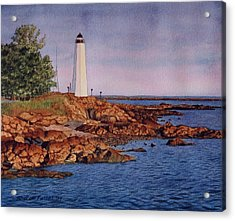 Five Mile Point Lighthouse Acrylic Print by Sharon Farber