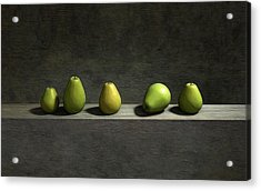 Five Pears Acrylic Print by Cynthia Decker