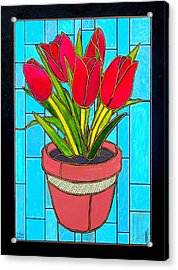Five Red Tulips Acrylic Print