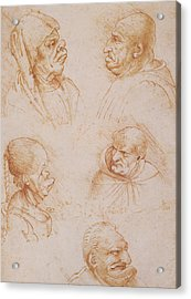 Five Studies Of Grotesque Faces Acrylic Print