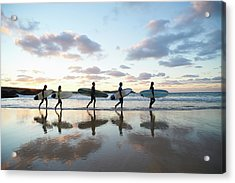 Five Surfers Walk Along Beach With Surf Acrylic Print by Dougal Waters