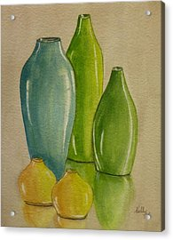 Five Vases Acrylic Print by Kelly Mills