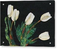 Five White Tulips  Acrylic Print by Lynda K Boardman