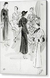 Five Women Wearing Chanel Acrylic Print by Rene Bouet-Willaumez