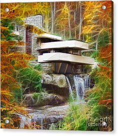 Fixer Upper - Square Version - Frank Lloyd Wright's Fallingwater Acrylic Print